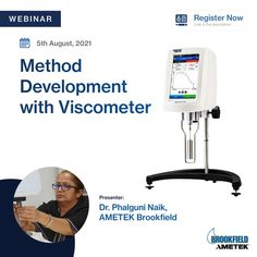 Learn the proper way of method development using AMETEK Brookfield Viscometers. Join our webinar on 5th August, 3 PM IST. In this webinar, we will discuss the tips and tricks on how to select the best parameters for measuring the viscosity of your samples to get accurate and repeatable results. Register now! For any additional information, please send an email to phalguni.naik@ametek.com Center Of Excellence, 3 Pm, Microsoft, Centre, Join, India, Goa India, Indie, Indian