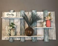 Extra wide pallet shelf, Wood shelf, wall shelf, blue and white wood shelf, bathroom shelf, bedroom decor, bathroom decor, beach decor