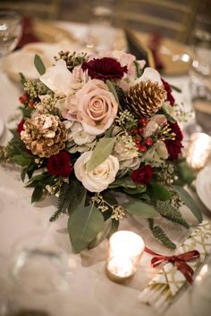 Warm December Wedding at the Embassy Suites Christmas Wedding Flowers: Warm December Embassy Suites Wedding from Dorosh Documentaries featured on Burgh Brides. Christmas Wedding Centerpieces, Christmas Wedding Flowers, Winter Wedding Decorations, Wedding Table Centerpieces, Wedding Flower Arrangements, Flower Centerpieces, Centerpiece Ideas, Vintage Christmas Wedding, Table Decorations