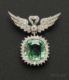Edwardian Platinum, Demantoid Garnet and Diamond Pendant