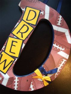 Custom Decorated Letter Football Theme THIS by inspiremecrafts Locker Room Decorations, Football Locker Decorations, Football Crafts, Football Banquet, Football And Basketball, Football Players, Basketball Gifts, Alabama Football, American Football