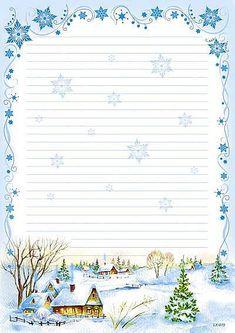 Christmas Border, Christmas Frames, Christmas Paper, Christmas Cards, Printable Lined Paper, Free Printable Stationery, Paper Art, Paper Crafts, Christmas Stationery