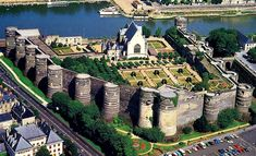 Castle of Angers, France A massive medieval fortress that stretches for almost 500m with 17 imposing towers.