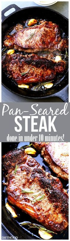Pan-Seared Steak with Cognac Sauce - Perfectly pan seared Top Sirloin Steaks topped with a deliciously creamy cognac sauce.