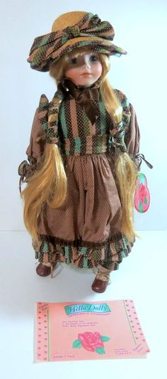 """Hello dolly Porcelain doll Jordan 18"""" with stand and COA, Signature series 1989"""