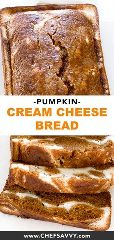 Pumpkin Cream Cheese Bread - Pumpkin bread is one of my favorite things about Fall. I took it up a notch with this Pumpkin Cream - Pumpkin Cream Cheese Bread, Pumpkin Bread, Brunch Recipes, Dessert Recipes, Artisan Bread Recipes, Healthy Comfort Food, Christmas Brunch, Fall Baking, Breakfast Dessert
