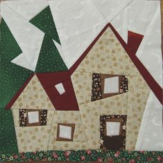 House Quilt Patterns, House Quilt Block, Patchwork Quilt Patterns, Paper Piecing Patterns, Quilt Blocks, Hand Work Embroidery, Hand Embroidery Designs, Embroidery Ideas, Cute Quilts