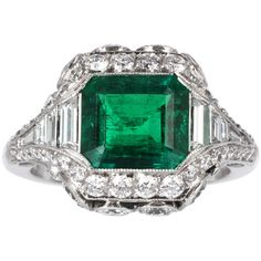Elegant 2.26ct Colombian Emerald Diamond Ring ❤ liked on Polyvore