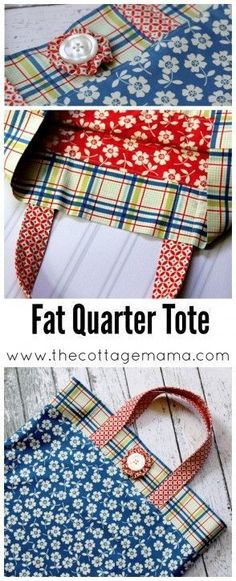 Fat Quarter Tote Bag Tutorial and FREE Pattern - The Cottage Mama. Free Sewing Pattern for Women.