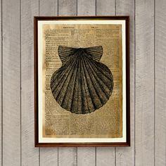 Sea life poster Seashell print Nautical decor by wordantique