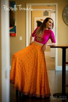 Latest Collection of Lehenga Choli Designs in the gallery. Lehenga Designs from India's Top Online Shopping Sites. Orange Lehenga, Pink Lehenga, Indian Lehenga, Indian Gowns, Indian Attire, Bridal Lehenga, Lehenga Choli, Bollywood Lehenga, Sharara