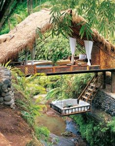 Treehouse over a creek