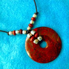 RED JASPER + HEMATITE 55 mm Unusual Donut Pendent on Leather+Jasper+Silver Beads+For Man Or Woman+20 Inches+Native American Made+Free Ship* by TjeansJewelry on Etsy