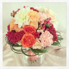 Bright coral bridal bouquet. Designed by Rebekah at Ballard Blossom, Seattle Wedding Flowers, Seattle Florist.