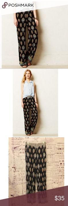Anthropologie Lilka wide leg black printed pants Super soft and comfy wide leg gauze pants with beautiful paisley print. Elastic waist with side and back pockets. Tag inside XS but runs small so it fits more like size S Anthropologie Pants Wide Leg