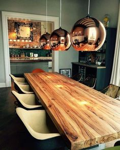 Solid wood table Dining table in oak old wood Oak table Wooden table Trei Natural Wood Dining Table, Wooden Dining Table Designs, Bar Height Dining Table, Dining Table Lighting, Table Bar, Wooden Dining Tables, Oak Table, Solid Wood Dining Table, Dining Room Table