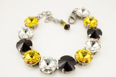 Hey, I found this really awesome Etsy listing at https://www.etsy.com/listing/200786229/steelers-swarovski-crystal-bracelet