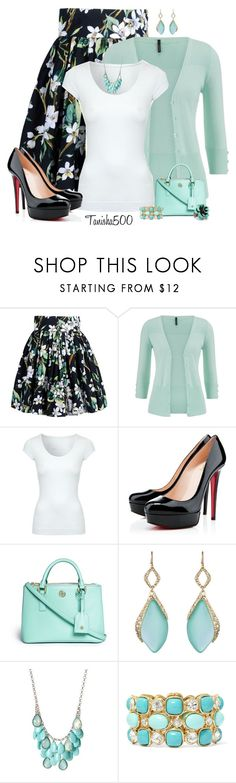 """""""Floral Knee Length Skirt!"""" by tanisha500 ❤ liked on Polyvore featuring Dolce&Gabbana, maurices, Jane Norman, Christian Louboutin, Tory Burch, Alexis Bittar, Monet and Sweet Romance"""