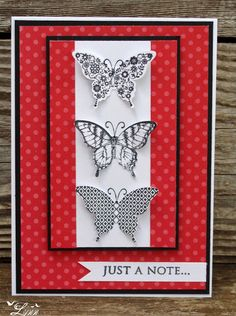 handmade picture of Butterfly's. column of die cut + stamped butterflies . red & white with black accents . Stampin' Up! Pretty Cards, Cute Cards, Diy Cards, Stamping Up Cards, Kirigami, Greeting Cards Handmade, Butterfly Cards Handmade, Creative Cards, Scrapbook Cards