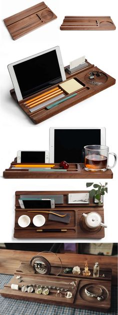 Bamboo Wooden Office Desk Stationery Organizer Tray Pen Pencil Holder Stand iPhone iPad Smart Phone Holder Dock Business Card Display Stand Holder Memo Holder Paper Clip Holder Collection Office Desk Supplies Stationary Organizer