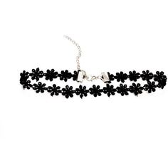 Adjustable Dainty Black Daisy Choker ($3.75) ❤ liked on Polyvore featuring jewelry, necklaces, choker necklace, goth choker, choker jewelry, adjustable necklace and gothic choker necklace