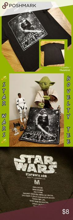 """🍀Star Wars Black Novelty Tee 🍀 ☄Star Wars Black Novelty Tee With Darth Vader☄ 100% Cotton 👍 In Good Condition!!  Bundle Your Likes For A Private Offer💲💲 Will Ship Same Day 📮📬📦 """"FAST SHIPPER"""" I Love Sharing YOUR Closet & Helping In Any Way I Can 😘 """"POSH MENTOR"""" I Will Personalize Your Package With 💙 & Care """"TOP 10% SHARER"""" """"TOP RATED SELLER"""" Happy Poshing Beauties 🎉🥁👕⚽️👖🏈👔 Star Wars Shirts & Tops Tees - Short Sleeve"""
