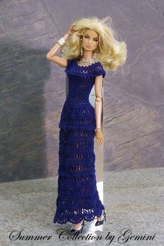 Crochet Barbie Patterns, Crochet Doll Dress, Crochet Barbie Clothes, Barbie Gowns, Barbie Dress, Barbie Doll, Doll Clothes Patterns, Clothing Patterns, Clothes Crafts