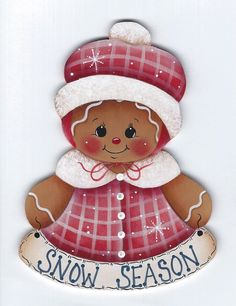 HP GINGERBREAD Snow Season FRIDGE MAGNET Handpainted by stonehouse28