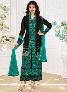 Looking amazing with attachment of Ayesha Takia black georgette designer straight suit. The brilliant attire creates a dramatic canvas with amazing embroidered and resham work. Comes with matching bot...