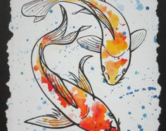 Koi Watercolor and Ink Series 3 by MichelleMeierFineArt on Etsy - Art that I like - Koi Fish Drawing, Fish Drawings, Art Drawings, Koi Art, Fish Art, Watercolor Fish, Watercolor Paintings, Mermaid Paintings, Carpe Koi Japonaise