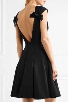 Miu Miu - Bow-embellished Wool-crepe Mini Dress - Black - IT