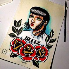 Skinhead Girl / Skinbyrd - Traditional Tattoo