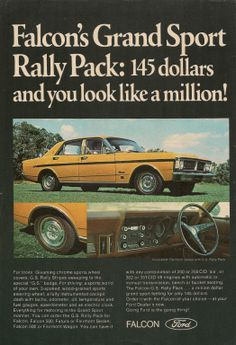 Original Vintage 1971 Ford Falcon GS Rally Pack Australian Colour Advert | eBay