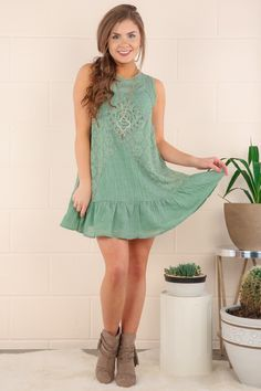FRINGE: Too Much To Dream Dress-Sage - All Dresses