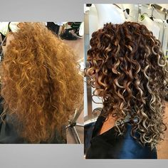 Color Correction Over the brassy ✋ So thankful my lovely Curly girl was open to change and allowed me to modified her base color to a rich auburn , then painted highlights slightly off-the root & a few lowlights. She wanted to achieve a look that showed off her curl pattern with an extra kick of brightness to her ends.