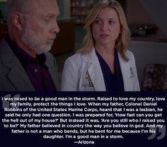 "Carlos Torres (Hector Elizondo) & Arizona Robbins (Jessica Capshaw). ""...Good man in a storm"" speech. Grey's Anatomy."