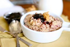 PB Oatmeal:  ½ C Oats  ¾ C H2O  ¼ C Applesauce  1 ½ Tb Peanut Butter   1 Tb Jam/Jelly    Prepare oatmeal w/water, mix in applesauce, top with PB, then stir.