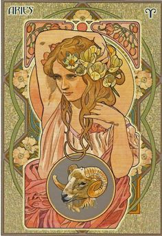Aries from the Astrological Oracle Card Deck illustrated by Antonella Castelli