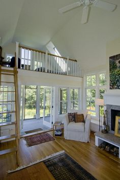 Loft size and style fit into house really well.  Examples of our work - contemporary - living room - boston - Knight Associates