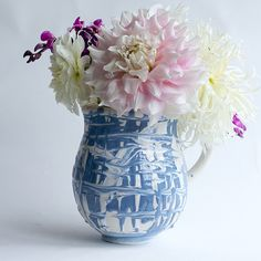 Claude Pitcher in Blue and White from Frances Palmer Pottery / great as a water vessel or vase for flowers
