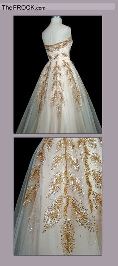 """...I'd buy myself a """"vintage gold sequined strapless tulle ball gown"""" by Christian Dior. Circa 1949. Sigh."""
