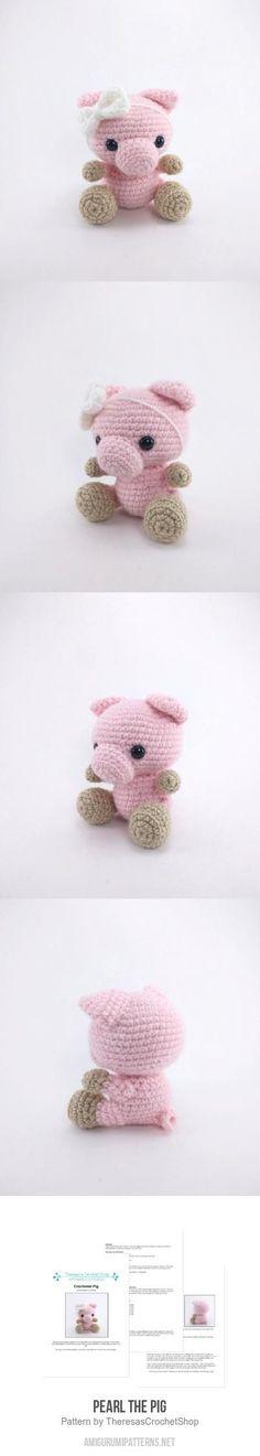Pearl The Pig Amigurumi Pattern - crocheted pig pattern - crochet piglet - amigurumi pig pattern - crochet piggy