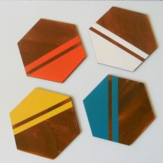 Hexagon wood Coasters Drink Coasters Neon by LiKeGjewelry on Etsy Diy Coasters, Wooden Coasters, Holiday Gift Guide, Holiday Gifts, Food Storage Boxes, Stainless Steel Types, Wine And Spirits, Wood Projects, Hand Painted