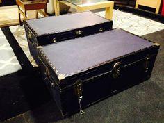 Two smart navy #vintage trunks - great stylish storage options.