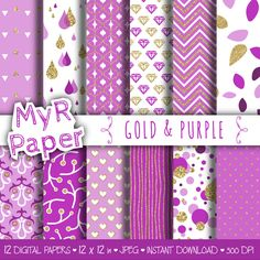 """Gold glitter purple digital paper: """"GOLD & PURPLE"""" purple and gold glitter pack of backgrounds with chevron, polka dots, stripes, hearts di MyRpaper su Etsy   With #love by @myrpaper on @etsy   #pattern #design #graphic #paperdesign #papercraft #scrapbooking #digitalpaper"""