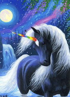 Unicorn horse rainbow horn waterfall moonlight fantasy original aceo painting #Realism