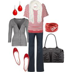 grey cardigan, coral & white stripe tunic, Top Shop scoop tank, Diesel jeans, coral drop earrings, patent leather ballet flats