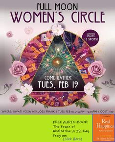 Full Moon Women's Circle this one will be themed on gratitude for the womb (space) and will include: journaling, love letters, womb meditation, mudra practice, learn the path of feminine. Meditation Corner, Power Of Meditation, Meditation Videos, Daily Meditation, Yoga Nidra, Program Design, Love Letters, Inner Peace, Full Moon