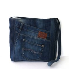jean cross body bag , recycled jean messenger bag, vegan school bag with top zipper  , up cycled travel bag for men and women