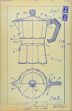New Art Technologies / Daydreamer / Curatorial Practice Bialetti, Tom Y Jerry, Coffee Tattoos, Patent Drawing, Technical Drawing, Vintage Advertisements, Diy Art, Sketches, History